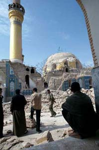 The mosque of Samara, north of Baghdad, destroyed by a bomb on 22 February 2006