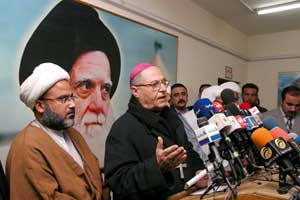 Bishop Warduni during a press conference with Shiite religious leaders in Baghdad on 4 February  2006. The Shiite, Sunni and Catholic religious leaders gave out a joint declaration condemning the satirical cartoons against the prophet Mohammed published in Europe