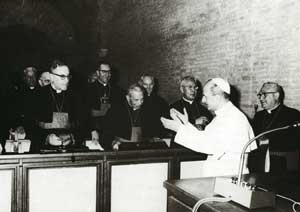 Paul VI welcoming cardinals attending the Synod of Bishops in the autumn of 1967. From the left,