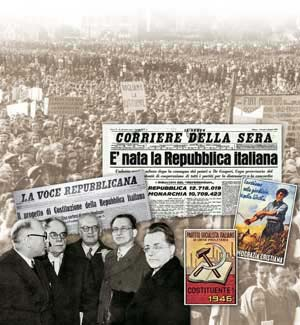 In the background photo, a demonstration for the Constituent Assembly in Turin in October 1945; Corriere della Sera of 6 June 1946, La Voce Repubblicana of 9 October 1947, a manifesto of the Italian Socialist Party of Proletarian Unity and one of the Christian Democrats, a photo of Nenni, Ruini, Vernocchi, De Gasperi and Togliatti at the time of the first 