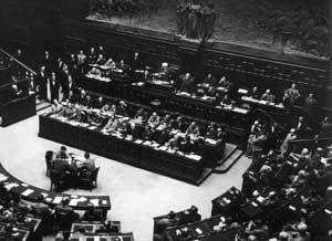 The inaugural session of the Constituent Assembly in the Chamber of Montecitorio on 25 June 1946