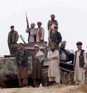 Afghan militiamen of the Northern Alliance