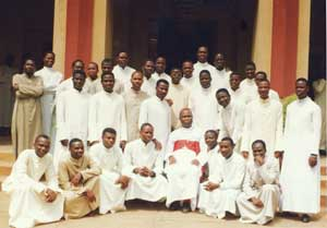 Cardinal Bernardin Gantin visiting the seminary of Ouidah in Benin