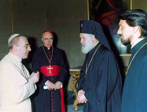 John Paul I with Nikodim and Cardinal Willebrands, 5 September 1978