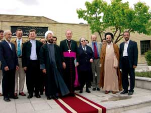 "Teheran. Below, Monsignor Bürcher, in the center of the photo, during a pause with the ""Islam"" working group"