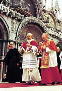 Patriarch Albino Luciani with Paul VI during the Pope's visit to Venice, 16 September 1972