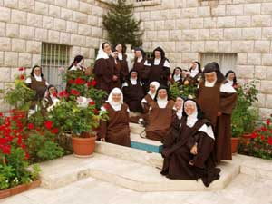 The nuns of Harissa in the courtyard of the convent