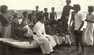 The young man Don Ranjith as curate of the fishing village of Kepungoda in the archdiocese of Colombo