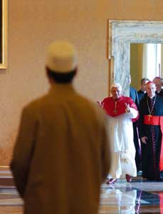 Benedict XVI during the audience with the ambassadors of Islamic majority countries accredited to the Holy See, 