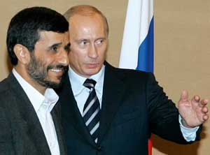 Russian president Vladimir Putin with the Iranian president Mahmoud Ahmadinejad at the Shanghai Cooperation Organization in June 2006