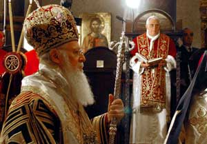 Benedict XVI and Ecumenic Patriarch Bartholomew I during the Byzantine divine liturgy in the patriarchal church of Saint George al Fanar, Istanbul, 30 November 2006