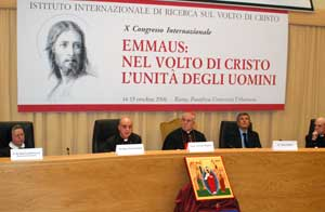Monsignor Rino Fisichella, Cardinal Fiorenzo Angelini and the writer Alain Elkann during the works of the X International Congress on the Face of Christ, that took place on 14 and 15 October at the Pontifical Urbanian University in Rome