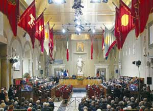 The Giulio Cesare Hall of the Capitol during the speeches before the ceremony for the signing of the European Constitution, held in the Sala degli Orazi e Curiazi, 29 October 2004