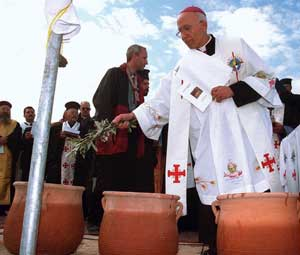 Bishop Salim Sayegh during a ceremony in Wadi Karrar, in what Jordanian archaeologists indicate as the site of the baptism of Jesus