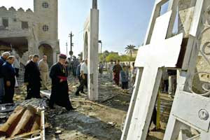 The church of Saint George in Baghdad destroyed by a car bomb in November 2004