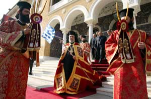 Orthodox Archbishop Chrysostomos during the procession to the Cathedral of Saint John of Nicosia for his enthronement as new archbishop of Cyprus, 12 November  2006