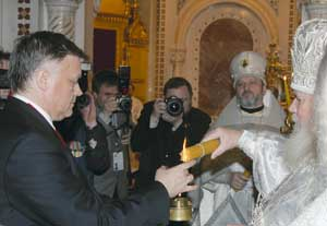 Vladimir Yakunin with the Patriarch of Moscow Alexis II in the cathedral of Christ the Savior in Moscow