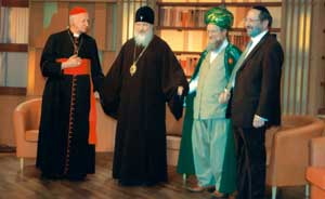 Cardinal Etchegaray, Metropolitan Kyrill, the Grand Mufti and the Chief Rabbi of the Russian Federation during the summit for interreligious dialogue hosted by the Orthodox Patriarchate, Moscow, July 2006