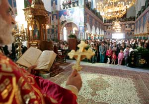 The liturgy of intercession in the Orthodox church of Amman for the 57 victims of the bomb attacks in the Jordanian capital in November 2005