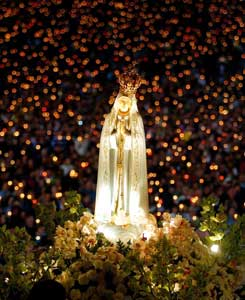 The statue of Our Lady of Fatima during a prayer vigil