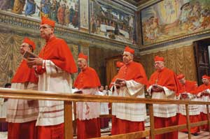 Cardinal electors processing into the Sistine Chapel 18 April 2005 for the conclave that was to elect Pope Benedict XVI
