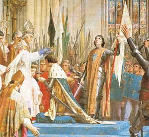 1429. L'ncoronazione di Carlo VII a Reims In questo affresco di Jules Lenepveu conservato al Panthéon di Parigi,  alle spalle del re è raffigurata Giovanna d'Arco