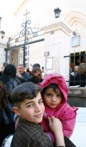 Iraqi children in Damascus: coming out of mass