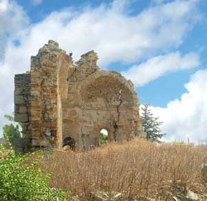 What remains of the church of Saint Nicholas (15th century) in Trachoni, not far from Nicosia