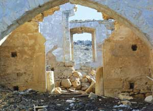 The Maronite monastery of the Prophet Elias in Skylloura, now destroyed and used as an animal pen