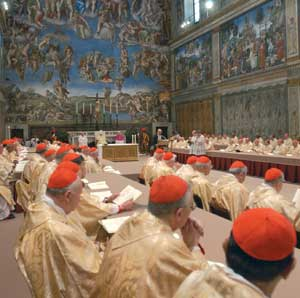 Benedict XVI celebrating Holy Mass in the Sistine Chapel, 20 April 2005