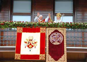 Benedict XVI and Bartholomew I greeting the faithful from the balcony of the Patriarchate of Istanbul, 30 November 2006