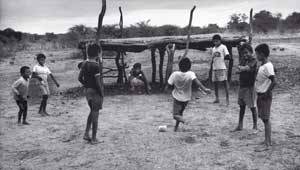 "Children of the ""sem terra"" playing football in Santa Maria da Boa Vista"