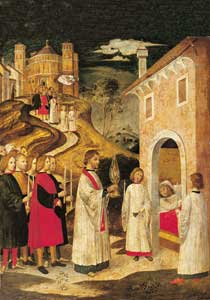Procession to Saint Lorenzo, anonymous Lombardian maestro  of the XV century, sacristy of the Church of Saint Lorenzo, Milan