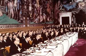 The signing of the Treaty of Rome in the Orazi e Curiazi room on the Capitoline, in Rome, 25 March 1957