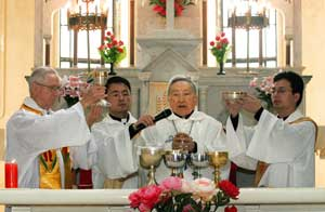 Bishop Aloysius Jin Luxian celebrating mass in the shrine of Sheshan, 1 May last