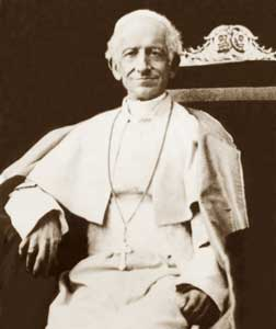 Leo XIII, who promulgated the Encyclical Rerum novarum on 15 May 1891