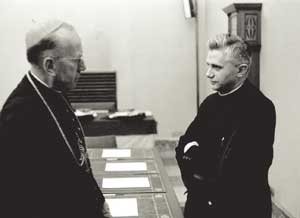 Cardinal Franz König with Joseph Ratzinger during the Conciliar works in 1962