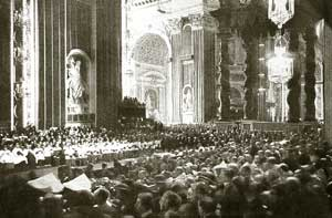 The interior of Saint Peter's Basilica during the ceremony of the canonization of Teresa of Lisieux, 17 May 1925