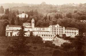 A period photo of the Rosmini Hill with the Sanctuary where the Abbot of Rovereto is buried and with the college dedicated to him