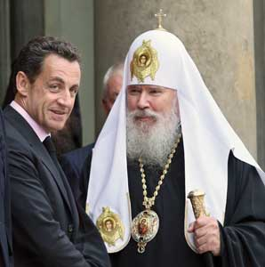 The Patriarch of Moscow and all the Russias Alexei II and French President Nicolas Sarkozy, Paris, 3 October 2007