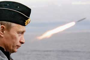 Vladimir Putin observes the launching of a missile