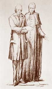 Manzoni and Rosmini in a drawing by Giorgio Scarpati