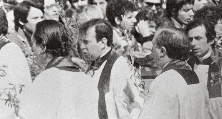 Don Giacomo Tantardini and Don Giussani in St Peter's Square, Palm Sunday, Holy Year, 23 March 1975