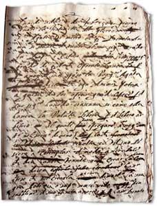 As anotações originais dos <I>Colóquios</I> de Santa Maria Madalena de Pazzi, encontradas em 2005 por Chiara Vasciaveo; Arquivo de Santa Maria dos Anjos, Florença