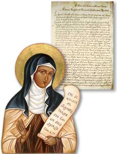 """O manuscrito original da carta sobre a """"Renovatione da Igreja"""", de Santa Maria Madalena de Pazzi, endereçada a Sixto V, mas nunca enviada; Arquivo de Santa Maria dos Anjos. Abaixo, <I>Santa Maria Madalena de Pazzi, mulher que o Espírito habita</I>"""