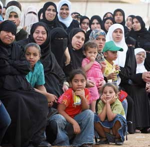 Palestinian women and children in Gaza