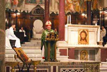 Cardinal Glemp during the Holy Mass celebrated in the Basilica of Santa Maria in Trastevere, on the occasion of his twenty-five years as cardinal, 2 February 2008