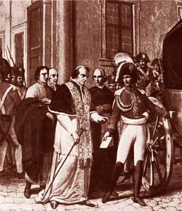 Pio VII viene portato prigioniero a Savona, Galleria Clementina, Biblioteca Apostolica Vaticana