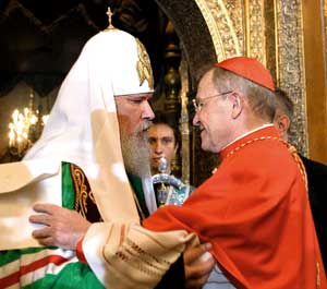 The Patriarcarch of Moscow Alexis II with Cardinal Walter Kasper, in the Cathedral of the Assumption, Kremlin, Moscow