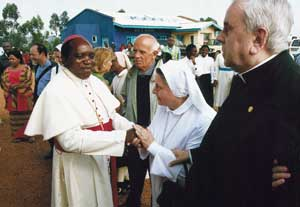 Butembo: Bishop Sikuli Paluku with  Cardinal Fiorenzo Angelini, who consecrated him bishop  in 1998,